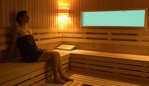 Die Sauna mit Blick auf den Swimmingpool